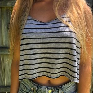 Black and grey striped sleeveless crop top, s